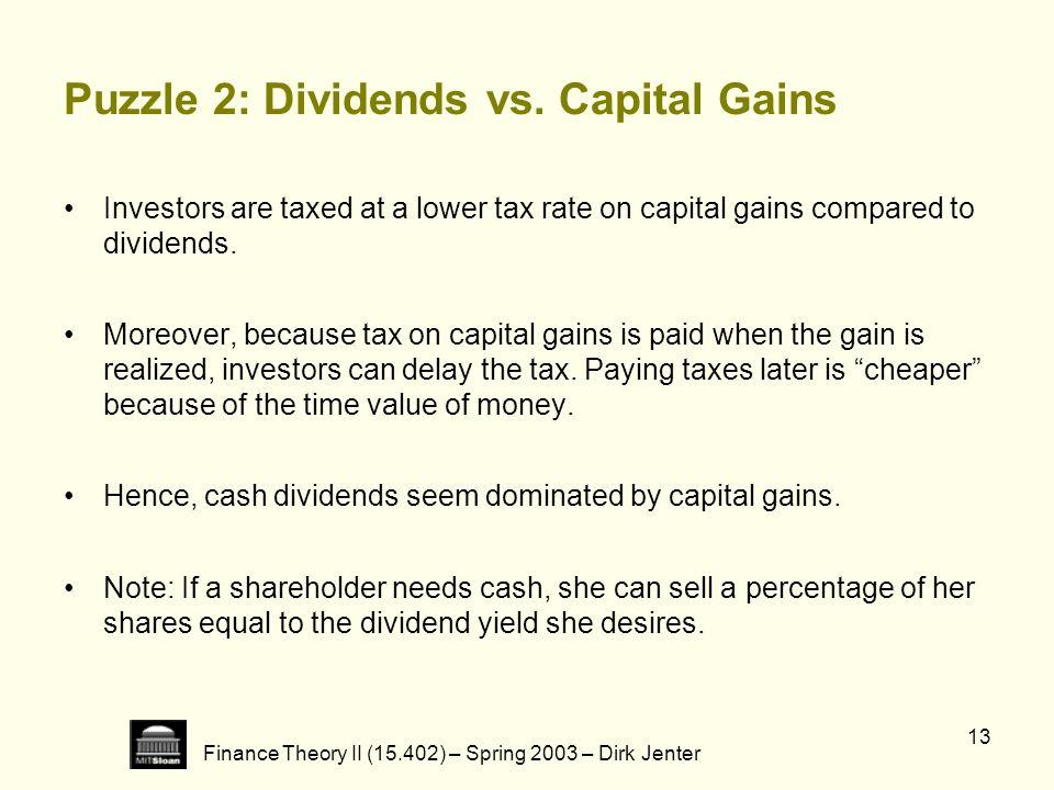 Puzzle 2: Dividends vs. Capital Gains