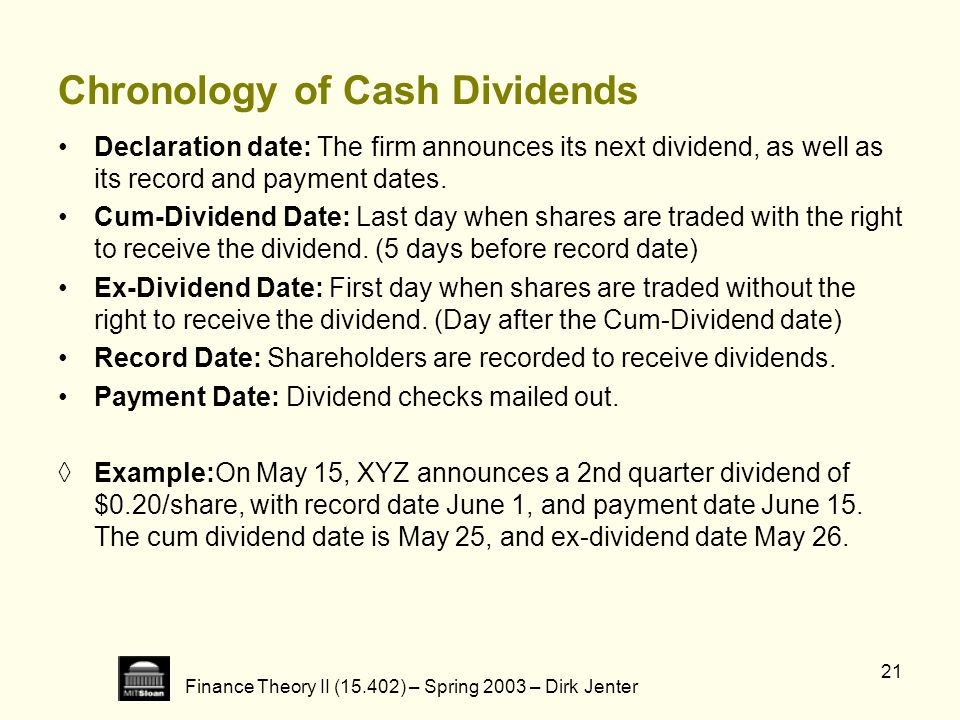 Chronology of Cash Dividends