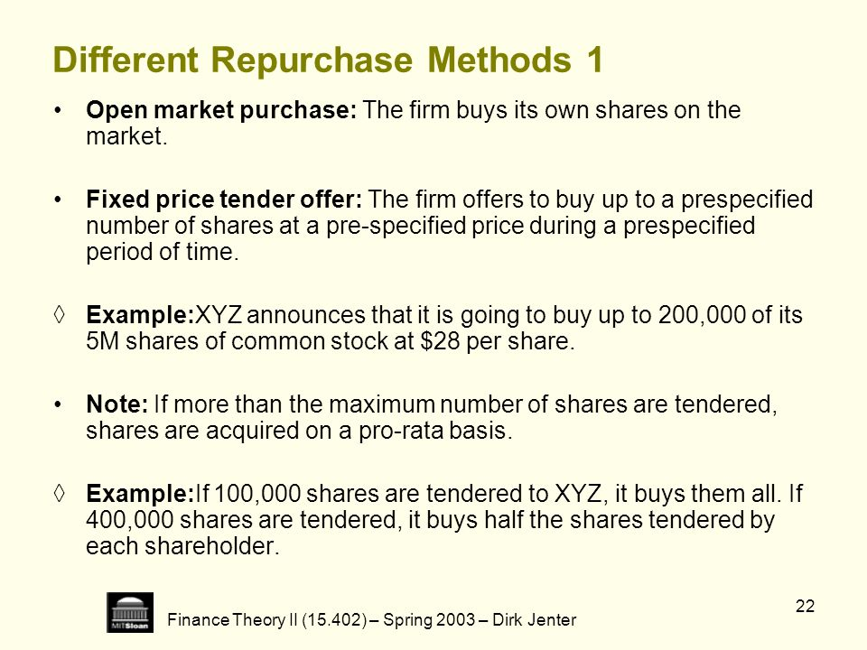 Different Repurchase Methods 1