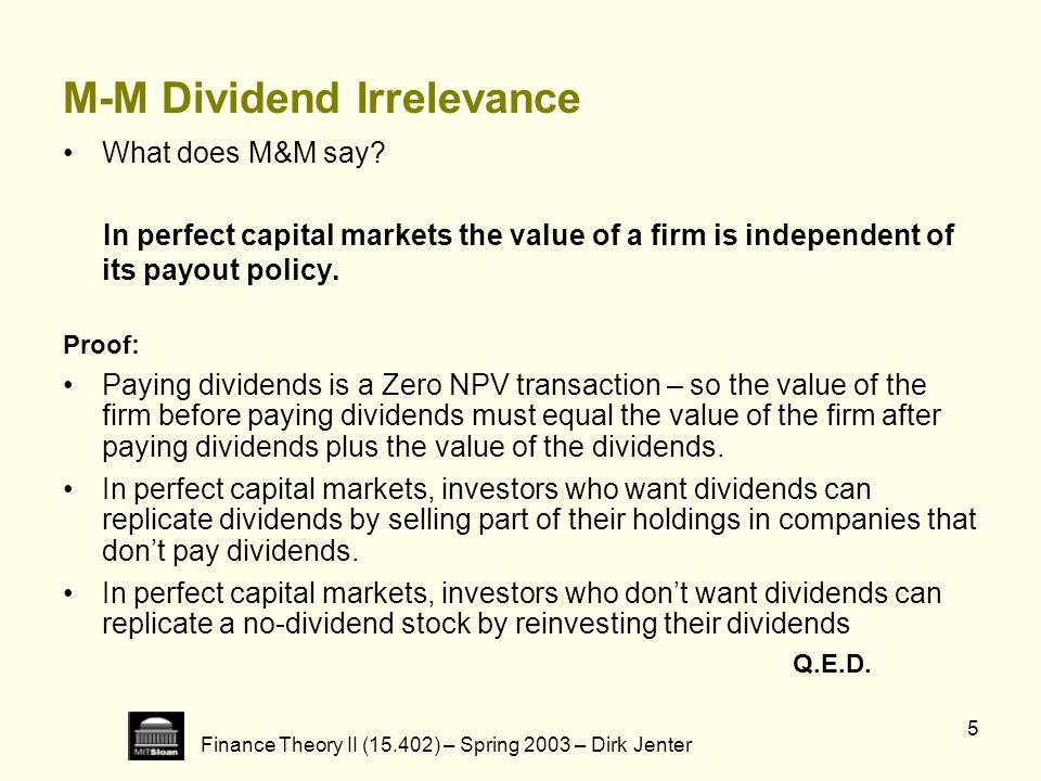 M-M Dividend Irrelevance