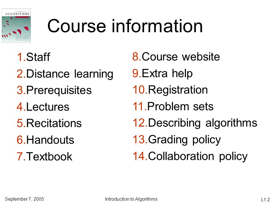 Course information 1.Staff 8.Course website 2.Distance learning