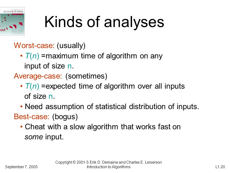 Kinds of analyses Worst-case: (usually)