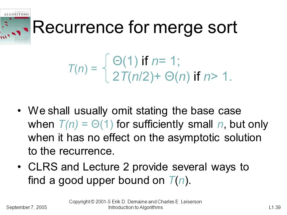 Recurrence for merge sort