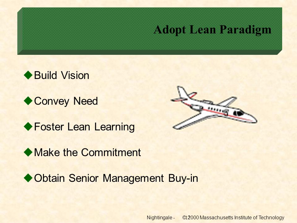 Adopt Lean Paradigm Build Vision Convey Need Foster Lean Learning