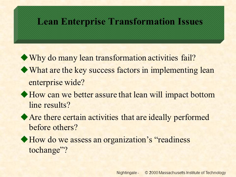 Lean Enterprise Transformation Issues