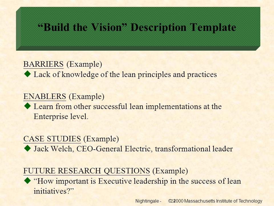 Build the Vision Description Template