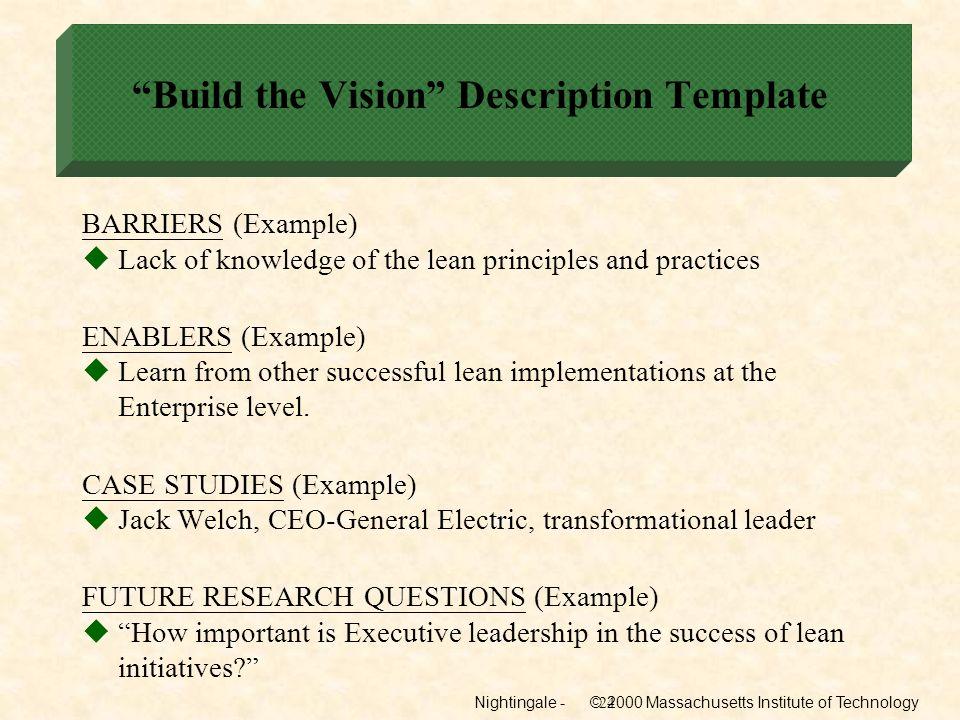 Build the Vision Description Template