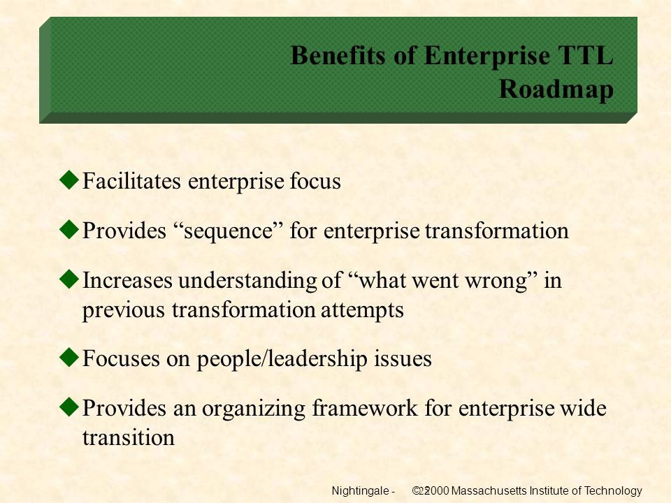 Benefits of Enterprise TTL Roadmap