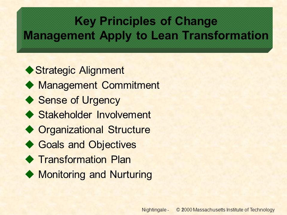 Key Principles of Change Management Apply to Lean Transformation