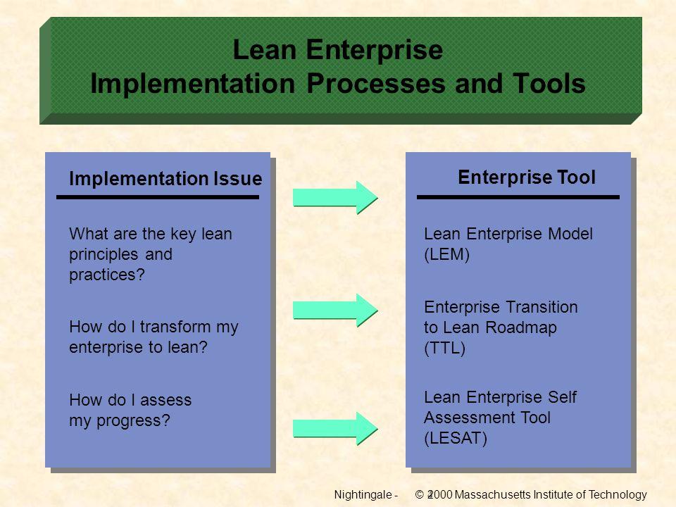 Lean Enterprise Implementation Processes and Tools