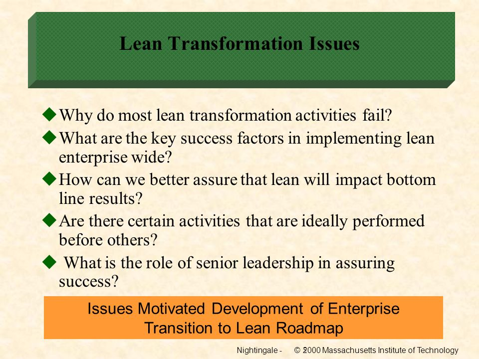 Lean Transformation Issues