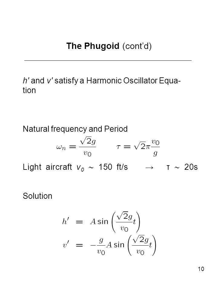 The Phugoid (cont'd) h′ and v′ satisfy a Harmonic Oscillator Equa-