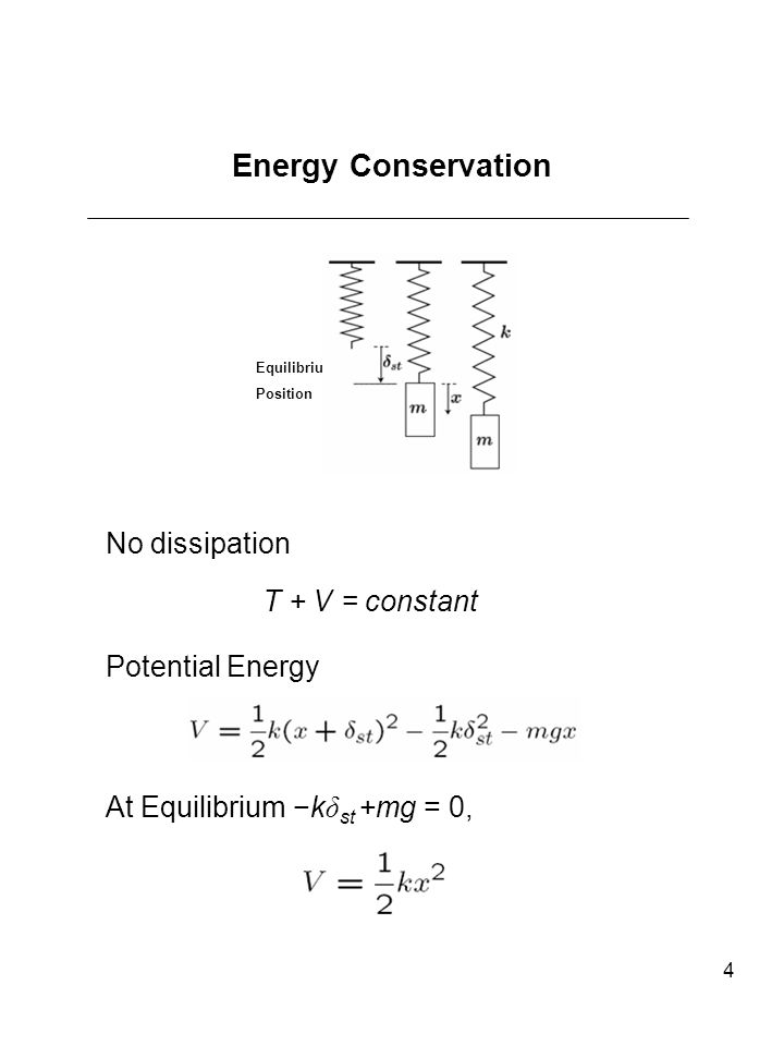 Energy Conservation No dissipation T + V = constant Potential Energy