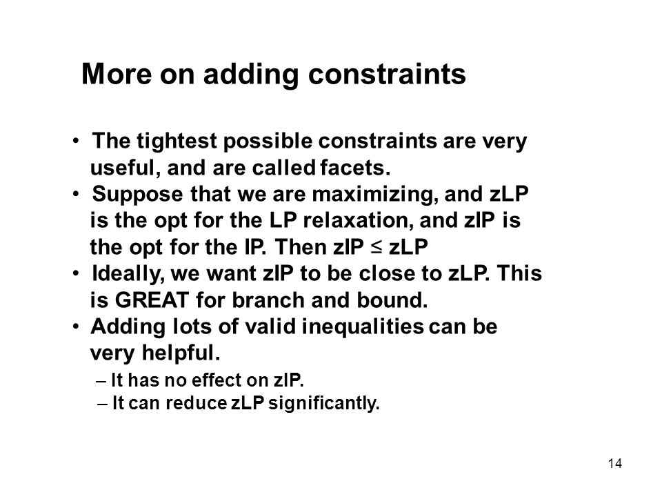 More on adding constraints