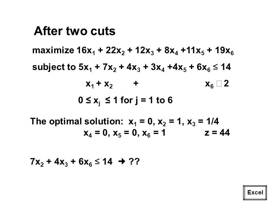 After two cuts maximize 16x1 + 22x2 + 12x3 + 8x4 +11x5 + 19x6