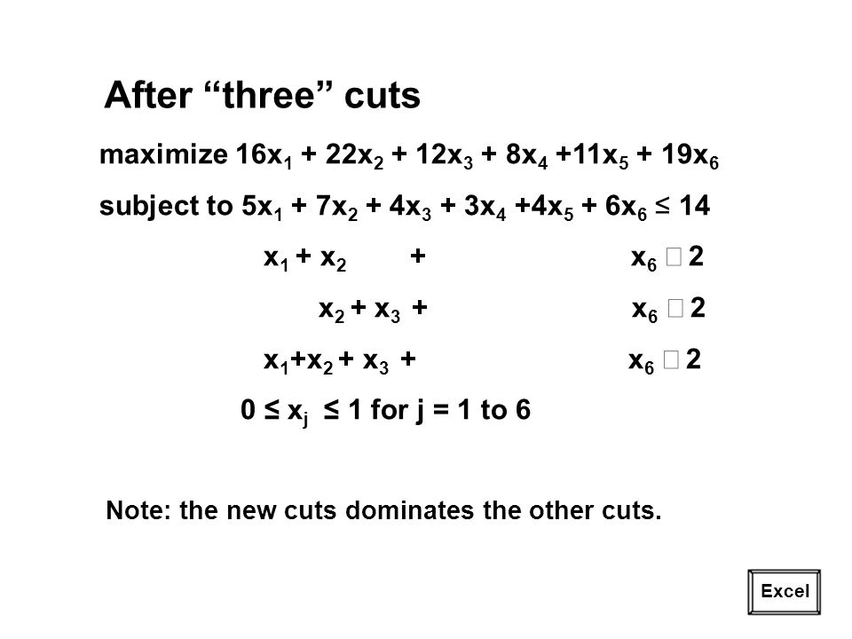 After three cuts maximize 16x1 + 22x2 + 12x3 + 8x4 +11x5 + 19x6
