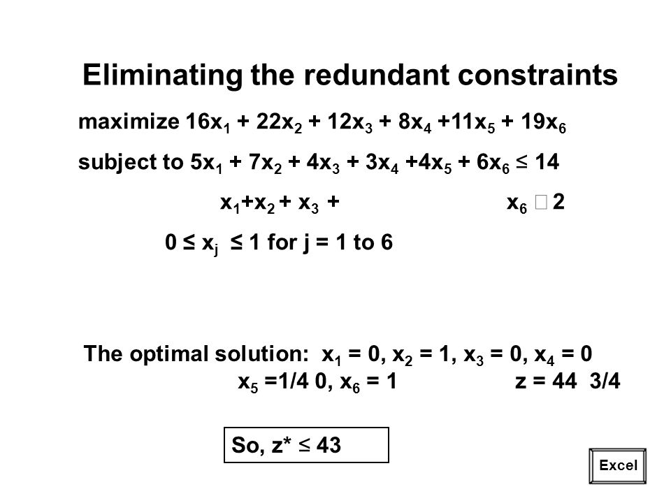 Eliminating the redundant constraints