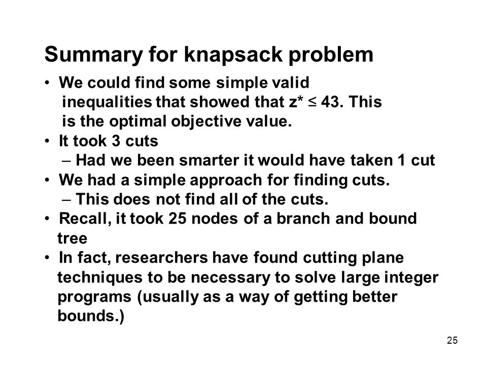 Summary for knapsack problem