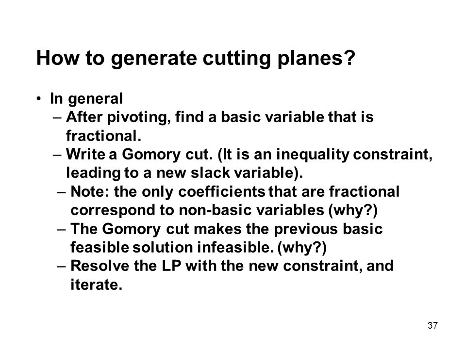How to generate cutting planes
