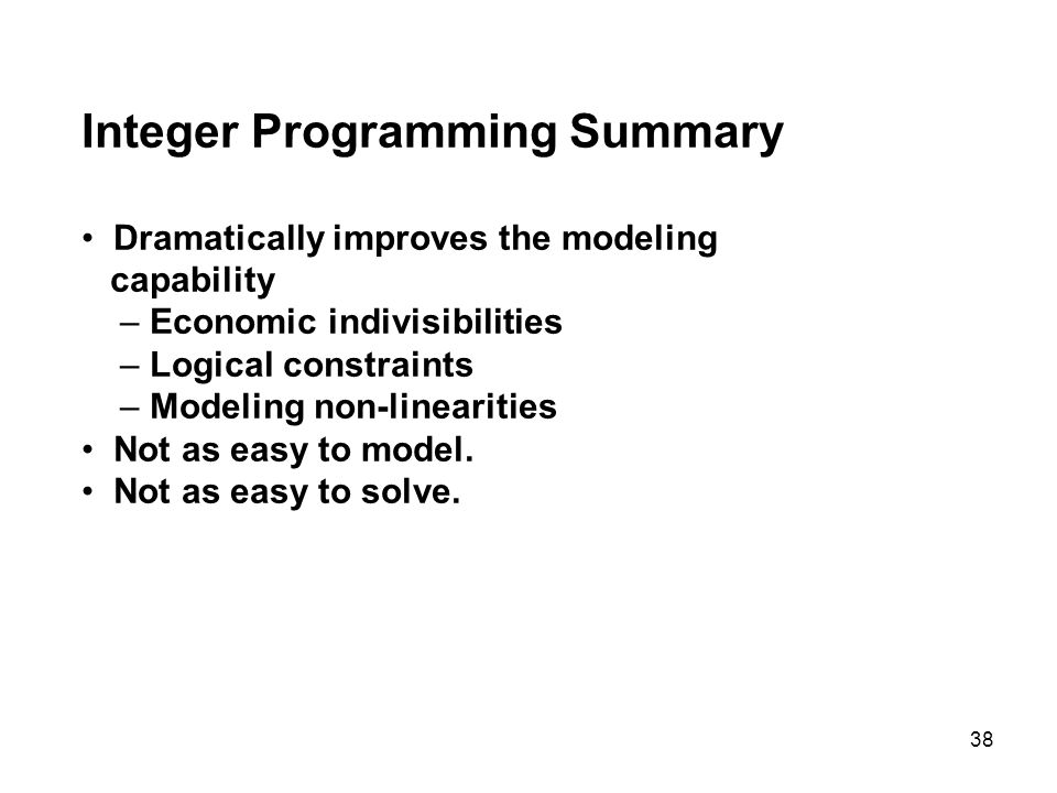 application of integer linear programing 114 chapter 3 applications of linear and integer programming models 31 the evolution of linear programming models in business and government following world war ii, the us air force sponsored research for solving mili.