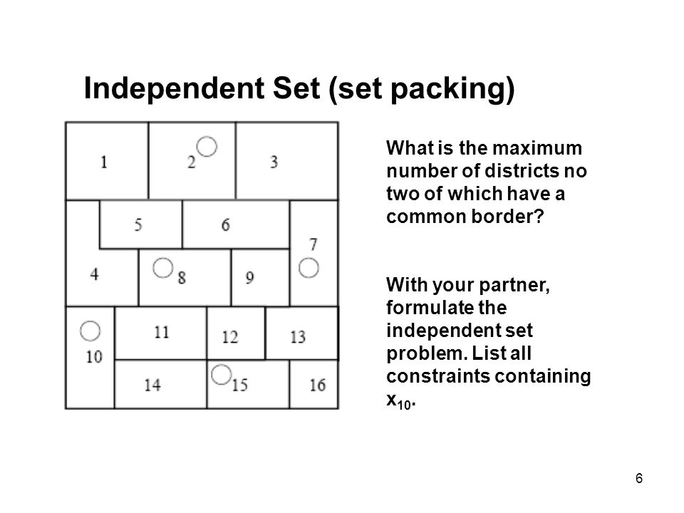 Independent Set (set packing)