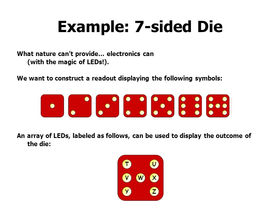 Example: 7-sided Die What nature can't provide… electronics can