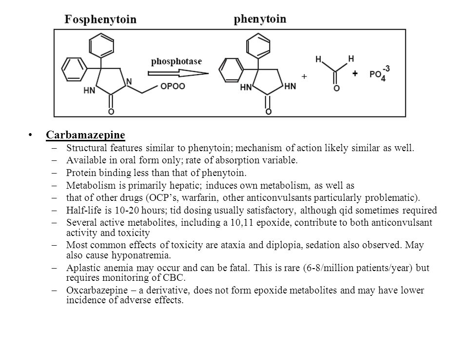 Carbamazepine Structural features similar to phenytoin; mechanism of action likely similar as well.