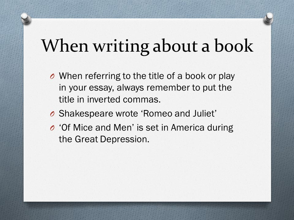 how should book titles be written in a paper