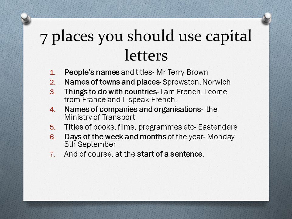 capital letters in headings