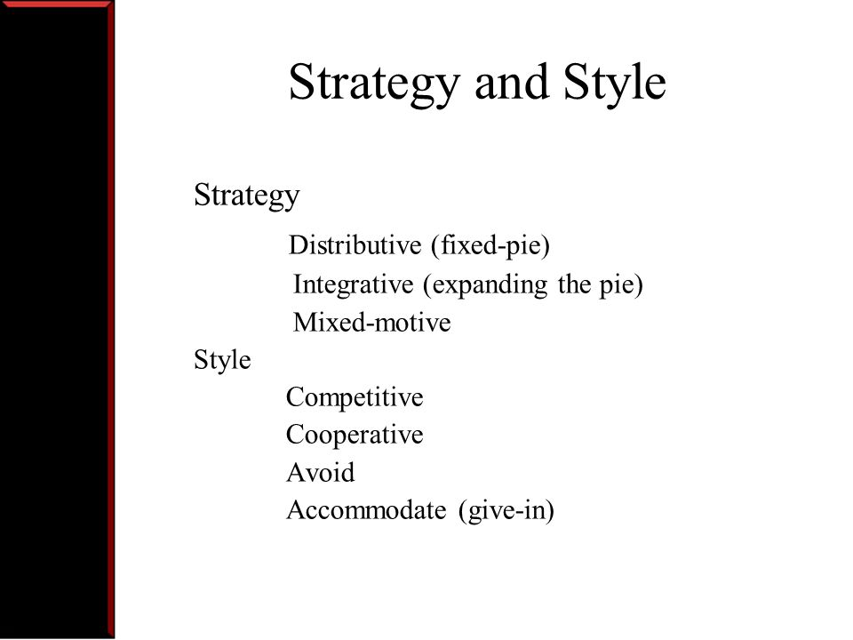 Strategy and Style Distributive (fixed-pie) Strategy