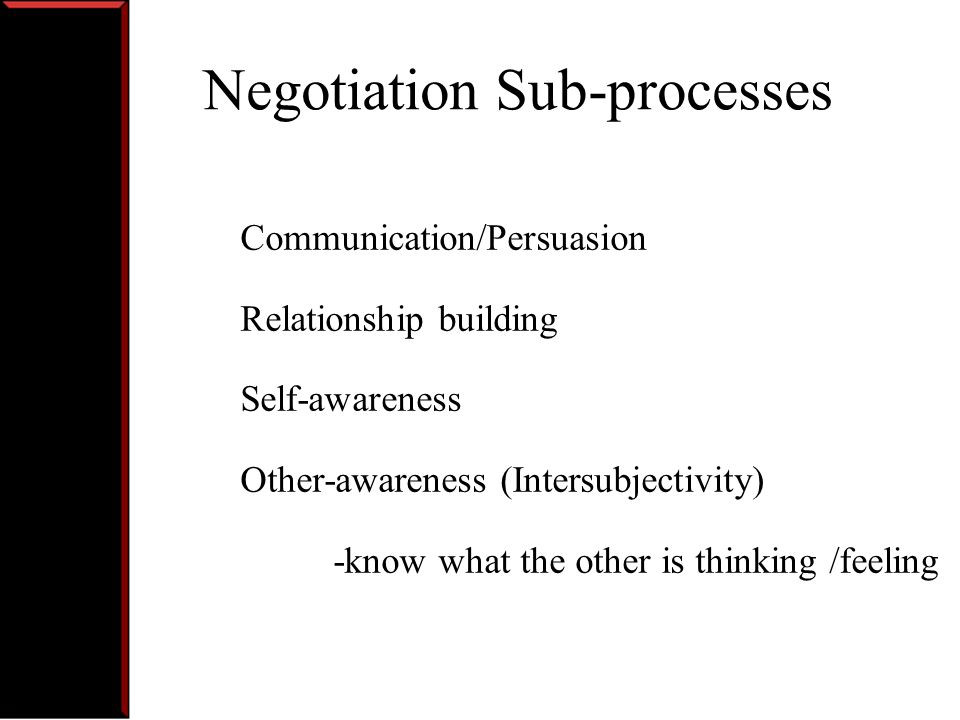 Negotiation Sub-processes