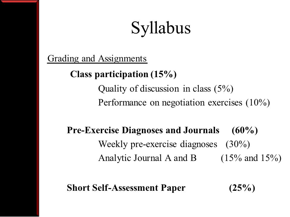 Syllabus Class participation (15%) Grading and Assignments