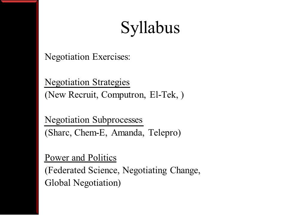 Syllabus Negotiation Exercises: Negotiation Strategies