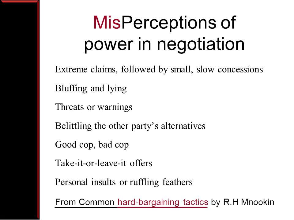 MisPerceptions of power in negotiation