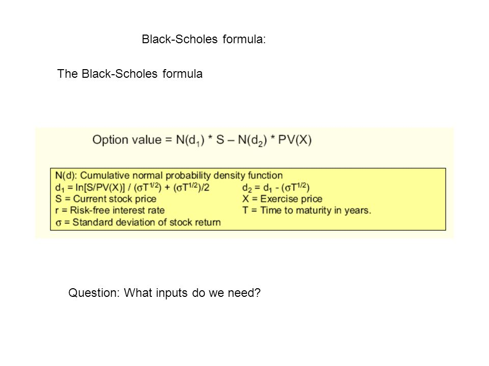 Black-Scholes formula: