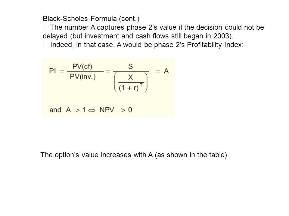 Black-Scholes Formula (cont.)