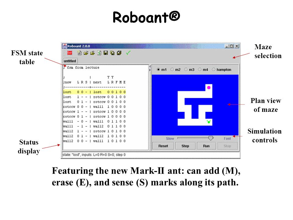 Roboant® Maze selection. FSM state table. Plan view of maze. Simulation controls. Status display.