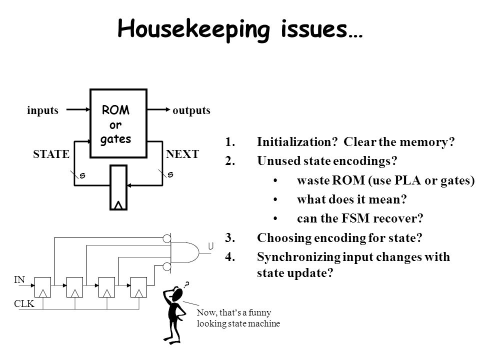 Housekeeping issues… Initialization Clear the memory