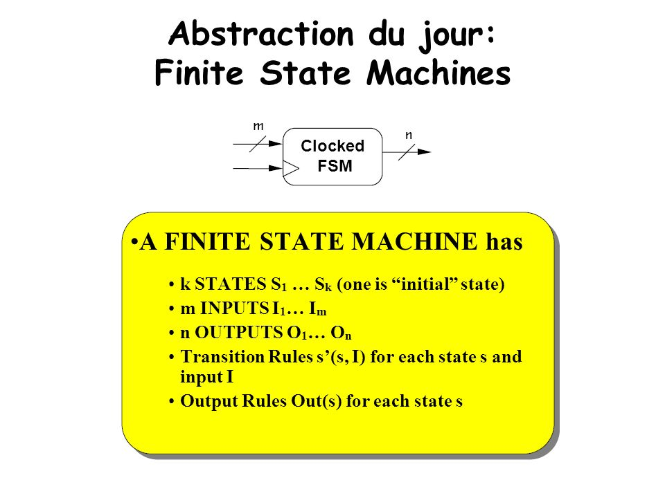 Abstraction du jour: Finite State Machines