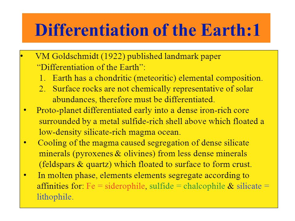Differentiation of the Earth:1