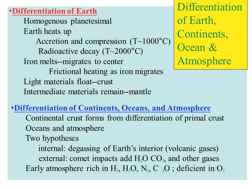 Differentiation of Earth, Continents,