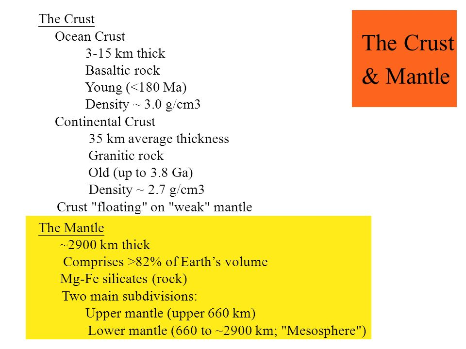 The Crust & Mantle The Crust Ocean Crust 3-15 km thick Basaltic rock