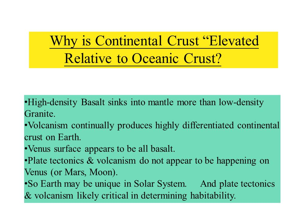 Why is Continental Crust Elevated Relative to Oceanic Crust