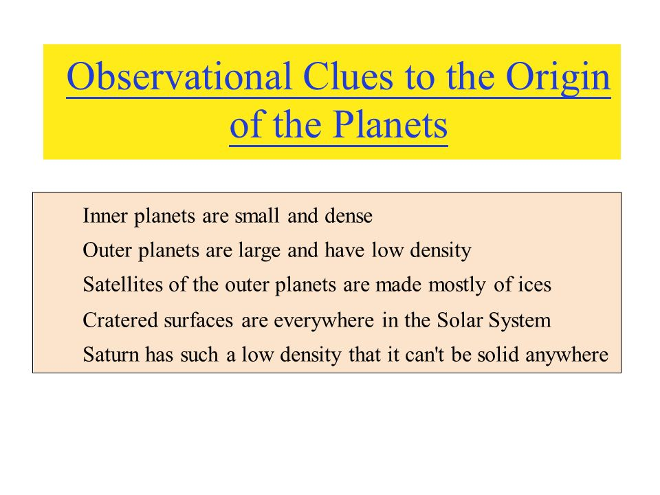 Observational Clues to the Origin of the Planets