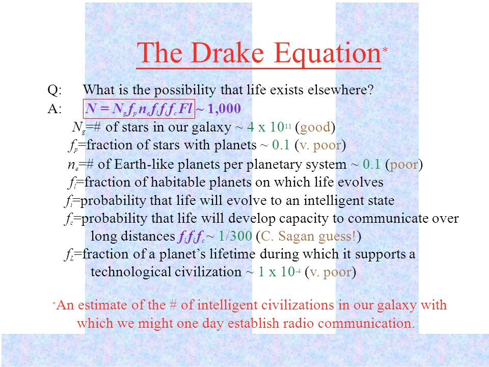 The Drake Equation* Q: What is the possibility that life exists elsewhere A: N = Ng fp ne fl fi fc Fl ~ 1,000.