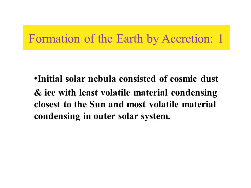 Formation of the Earth by Accretion: 1