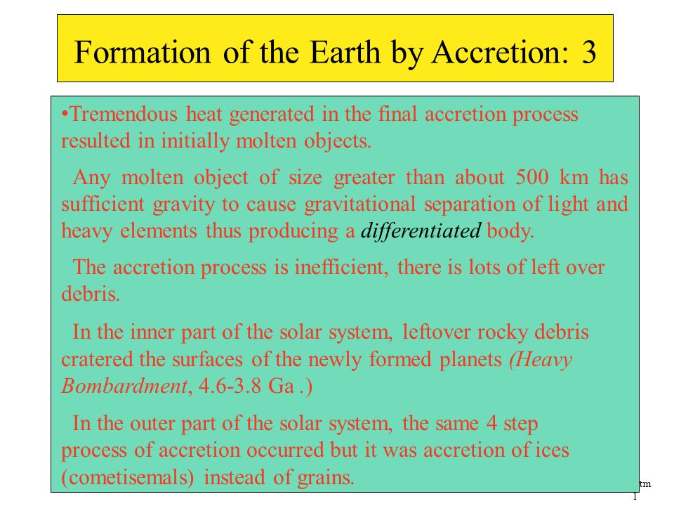 Formation of the Earth by Accretion: 3