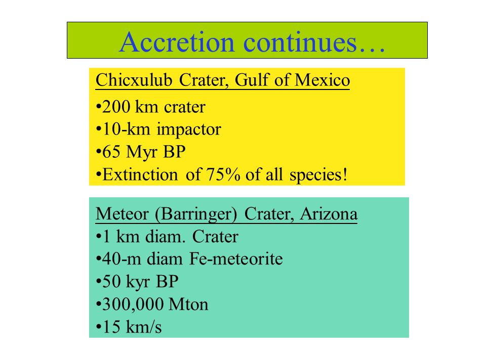 Accretion continues… Chicxulub Crater, Gulf of Mexico •200 km crater