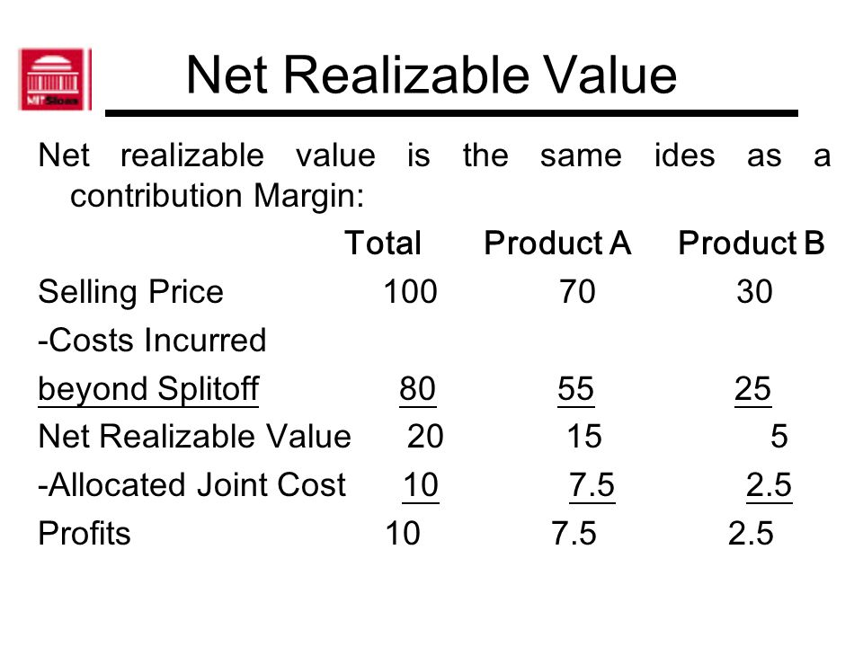 Net Realizable Value Net realizable value is the same ides as a contribution Margin: Total Product A Product B.