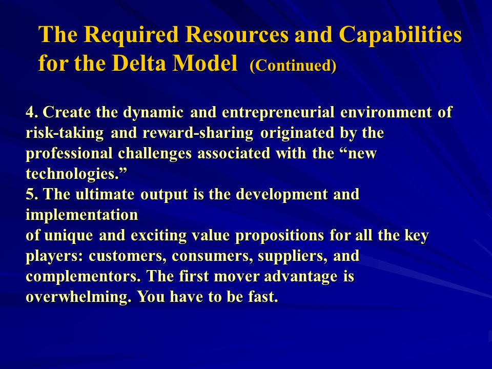 The Required Resources and Capabilities